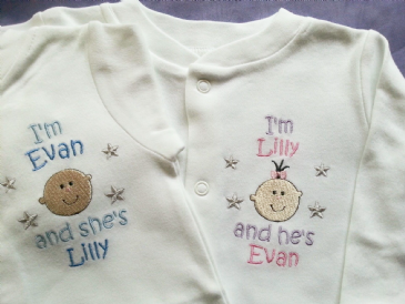 2  Personalised Twins Sleepsuits /  Babygros / Babygrows boy or girl versions